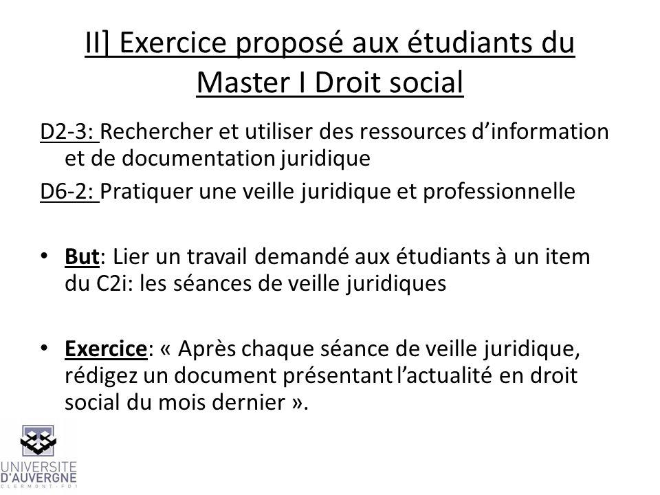 II] Exercice proposé aux étudiants du Master I Droit social